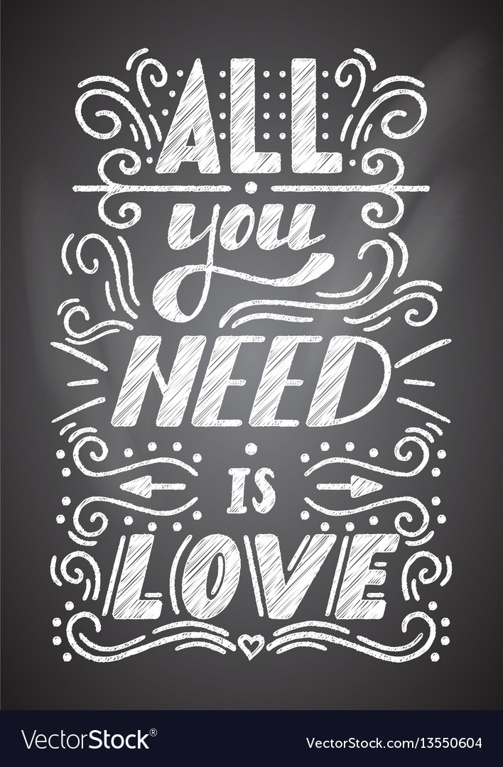 All you need is love lettering on a chalkboard vector image