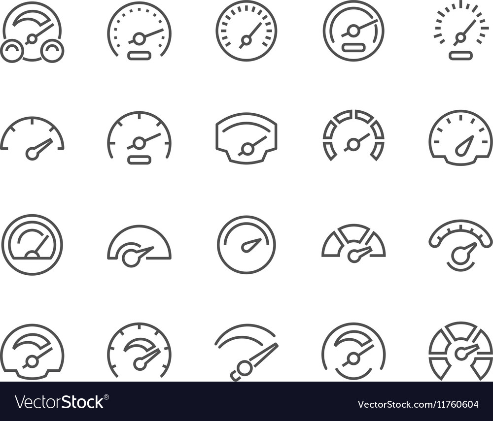 Line Speedometer Icons vector image