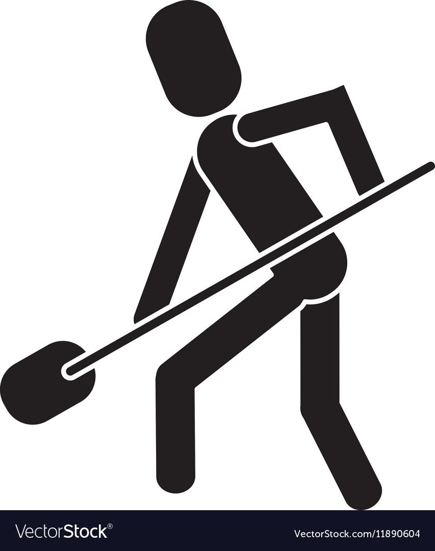 Man shovel digging work construction pictogram vector image
