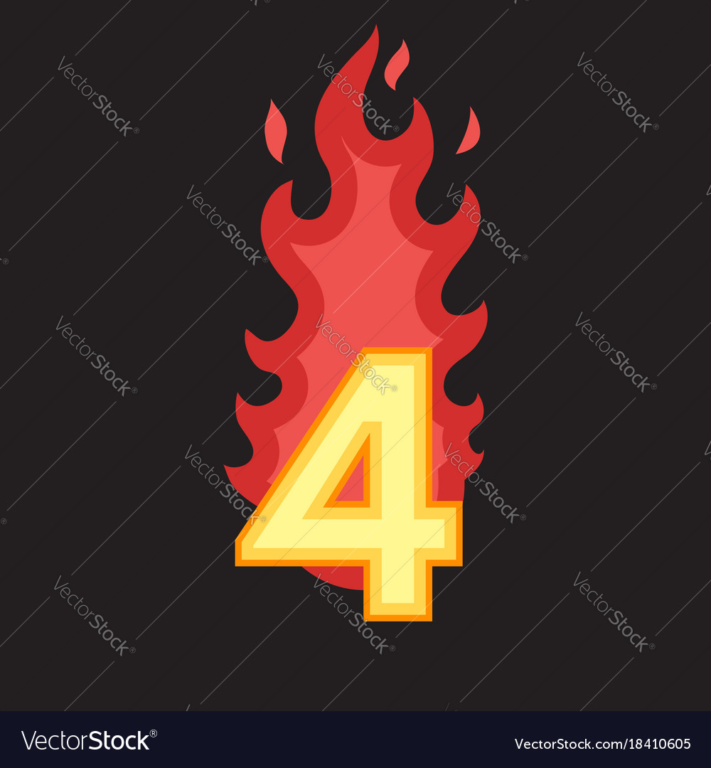 Flaming number four vector image