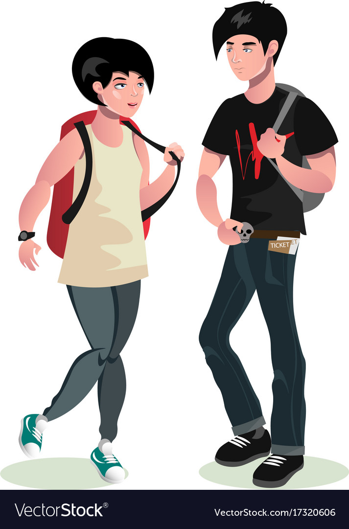Young man and woman students vector image
