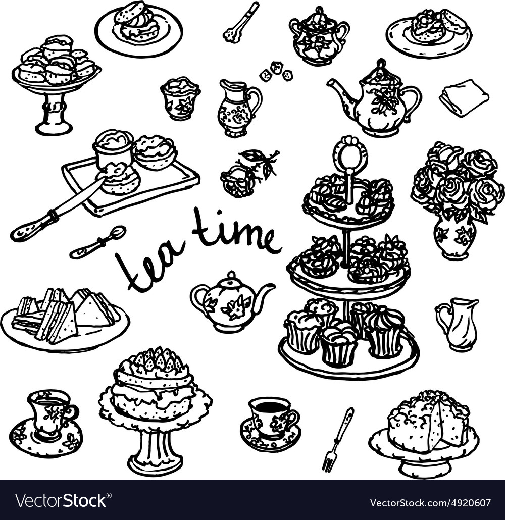 Hand drawn of kitchen utensils vector image