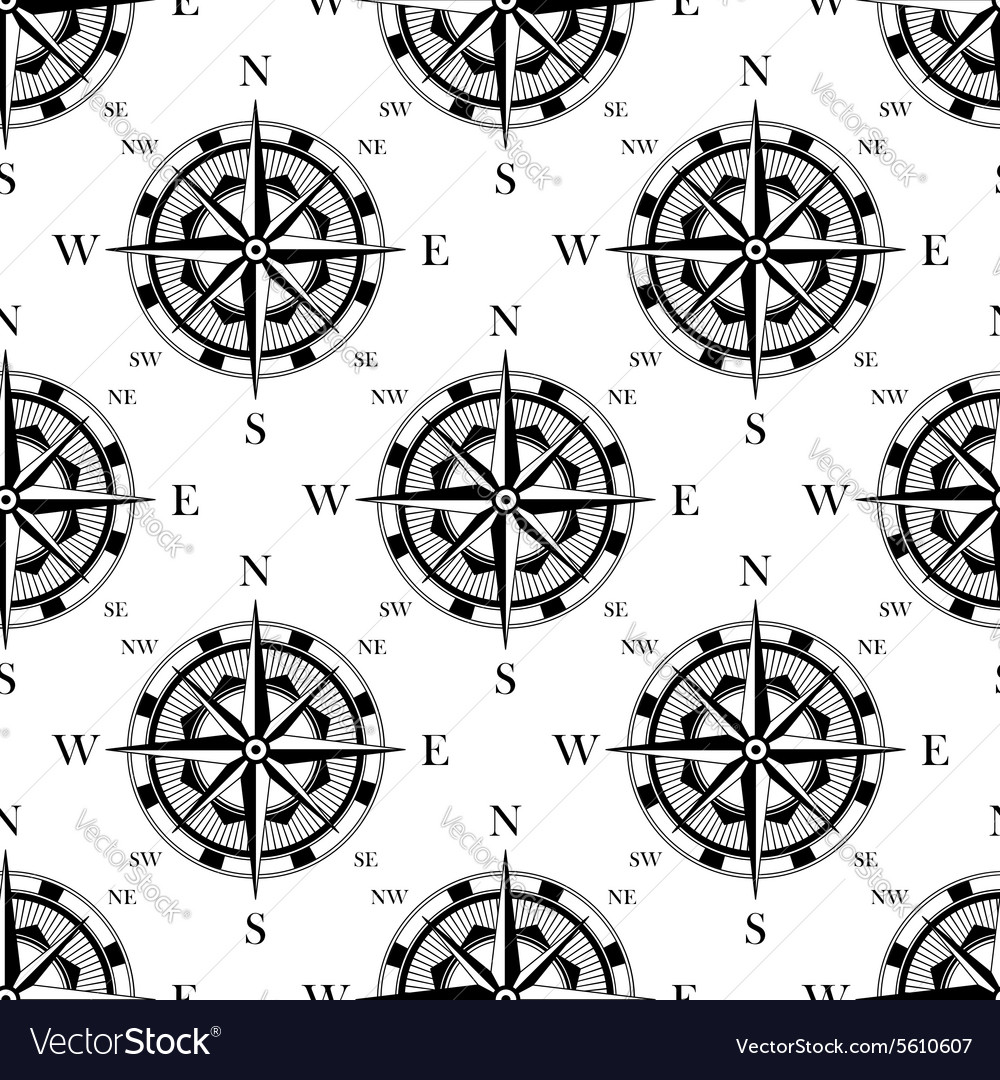 Nautical Compass Black And White Seamless Pattern Vector Image