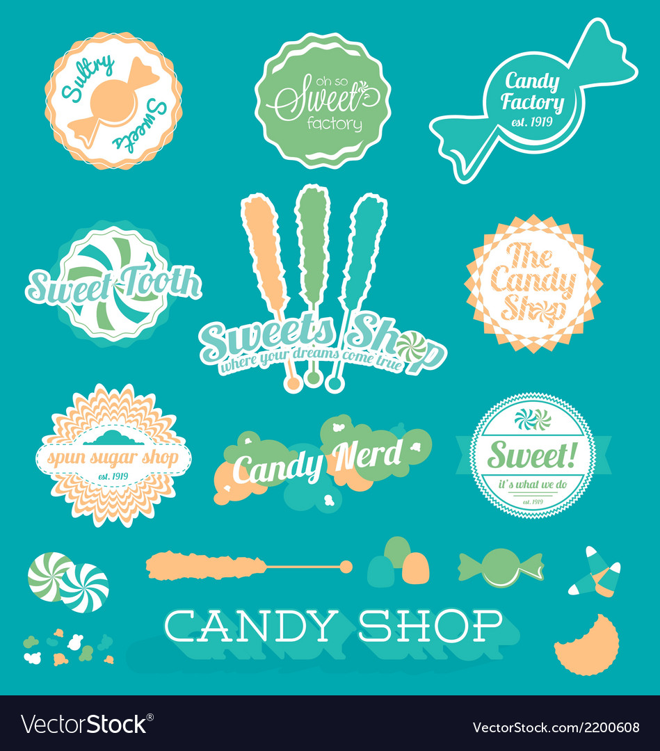 Candy Shop Icons and Labels vector image