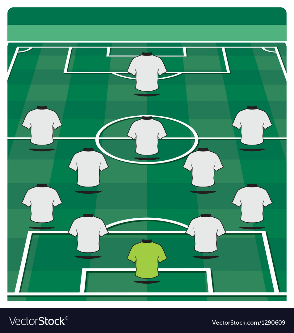 Soccer field layout with formation vector image