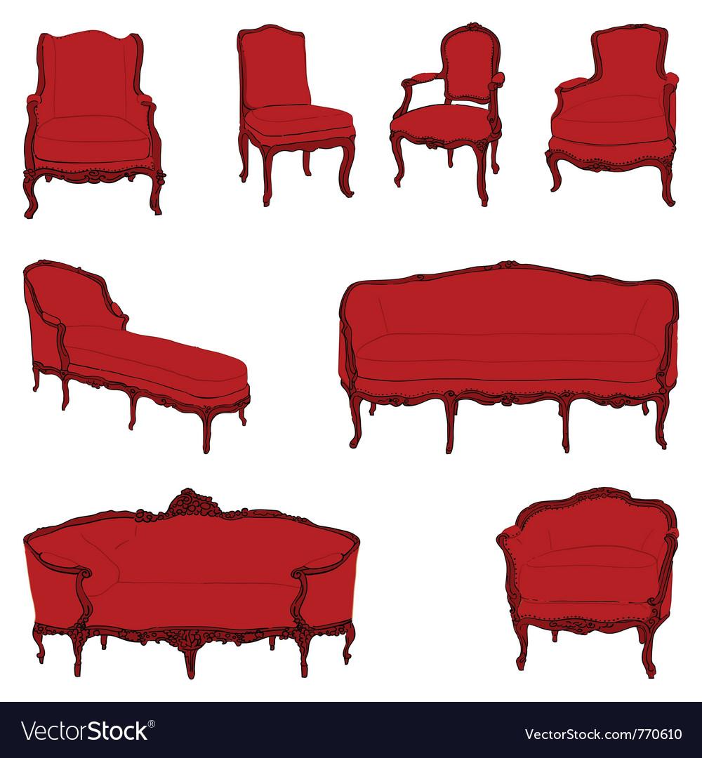 Authentic rococo armchairs vector image