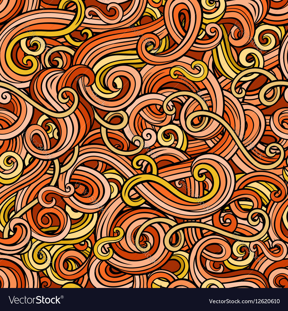 Decorative doodle abstract curly seamless pattern vector image
