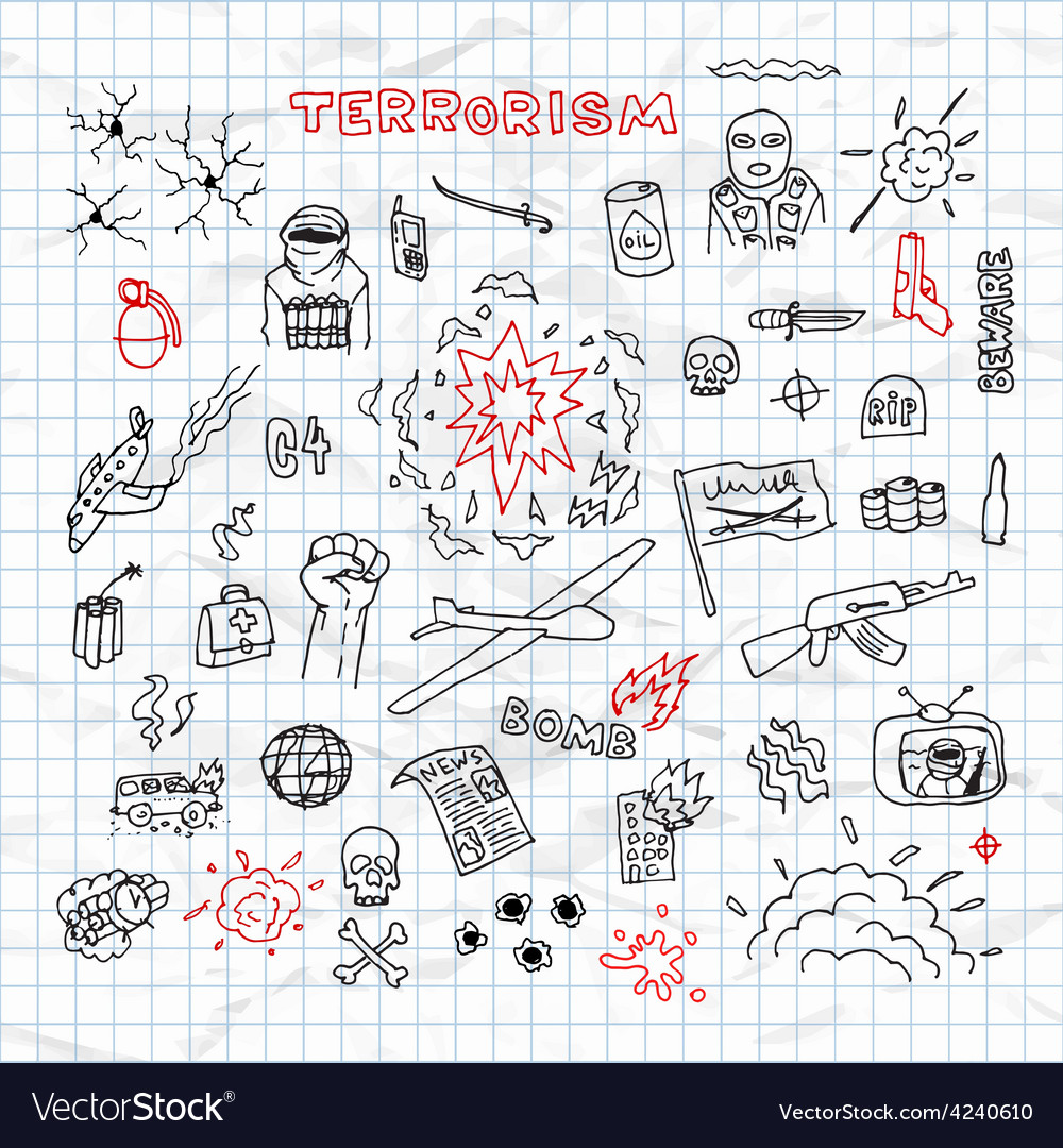 Hand Drawn terrorism doodles on crumpled paper vector image