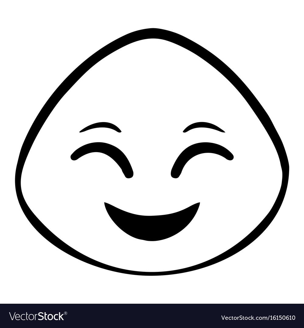 Thin line happy face icon vector image