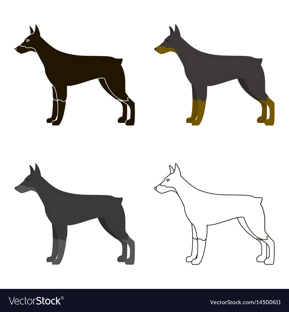 doberman icon in cartoon style for web vector image