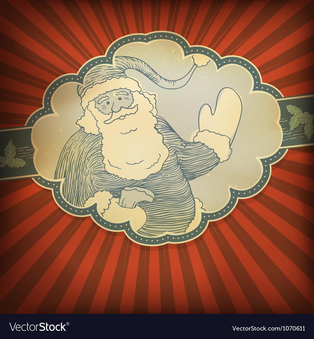 Retro santa card vector image