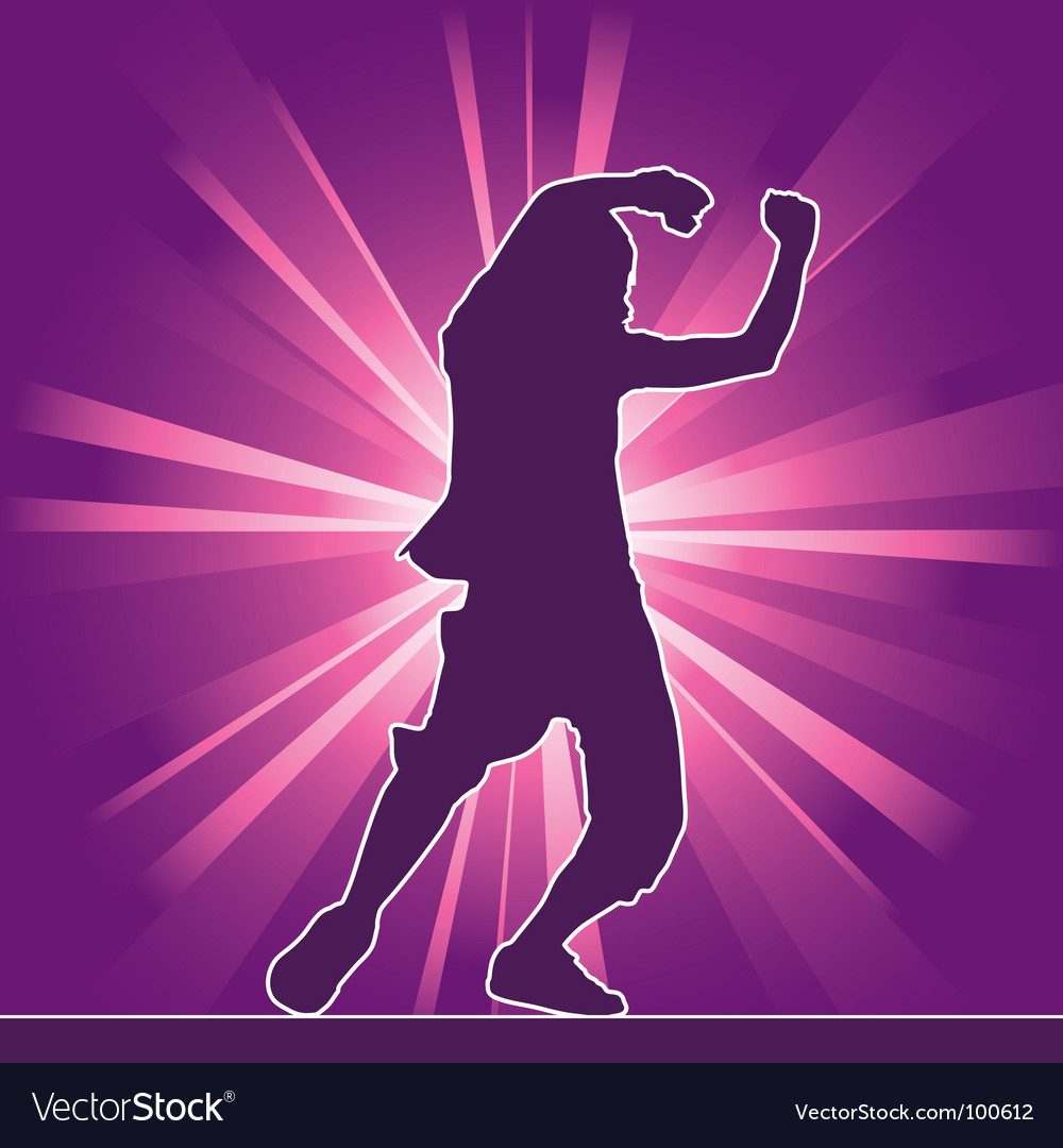 Hip-hop dancing silhouette vector image