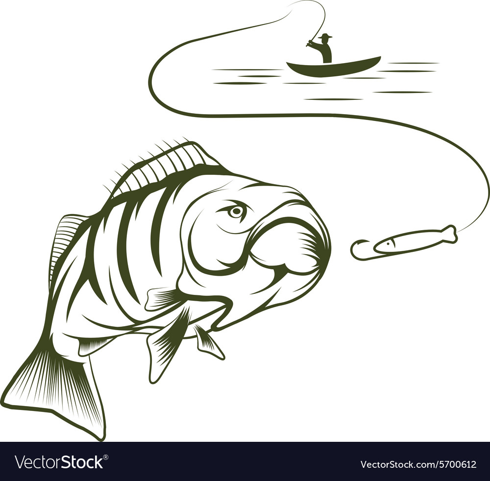 fisherman in a boat and big mouth bass royalty free vector