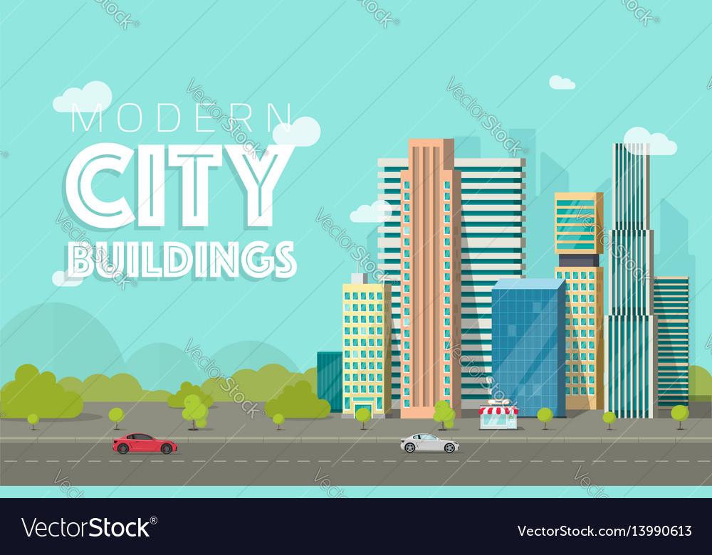 Buildings city flat vector image