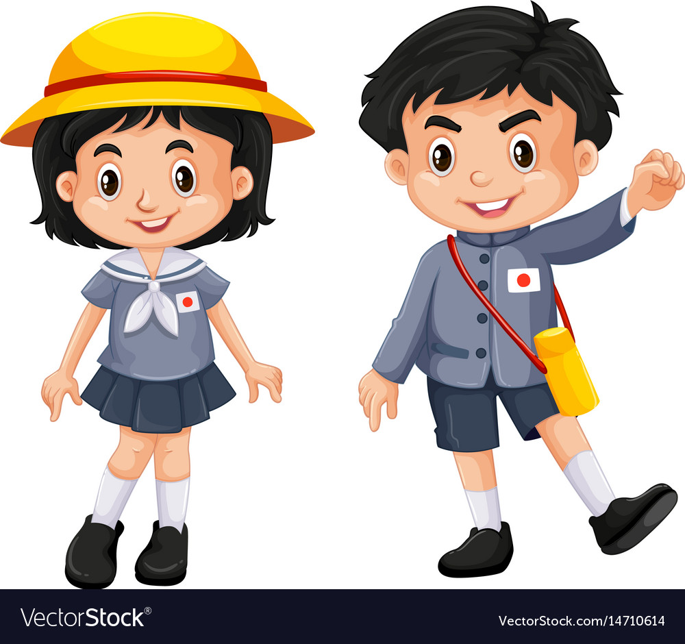 Japanese boy and girl in school uniform vector image