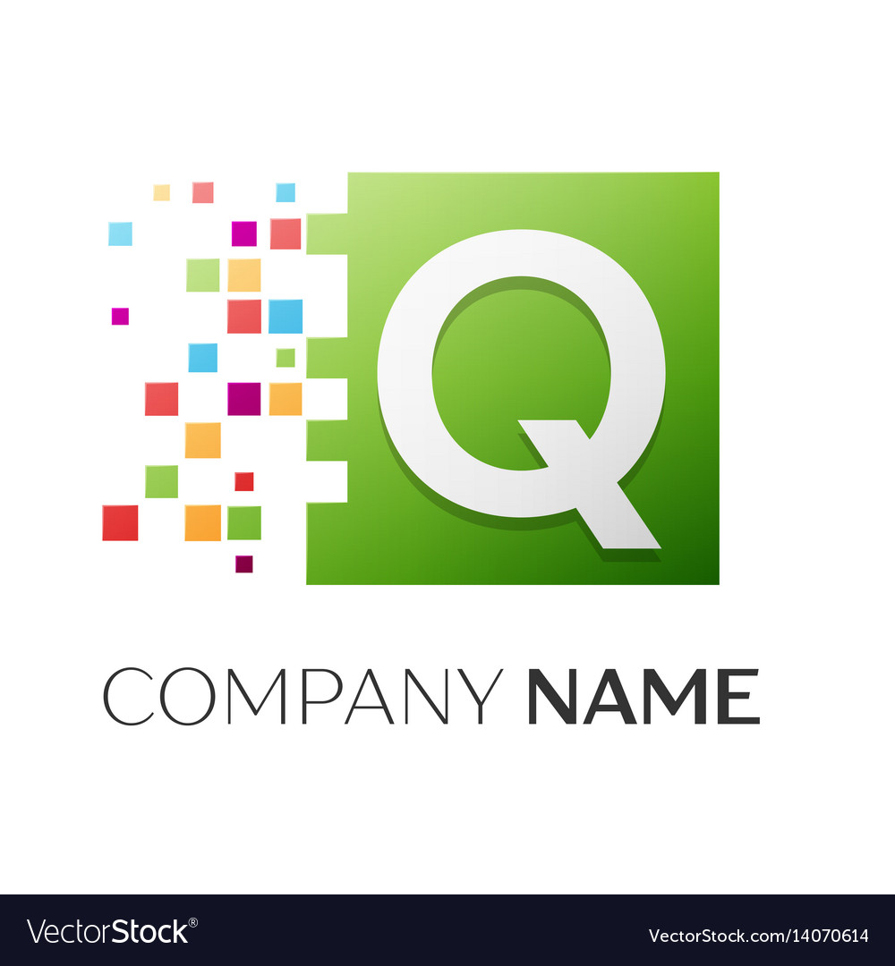 Letter q symbol in the colorful square vector image