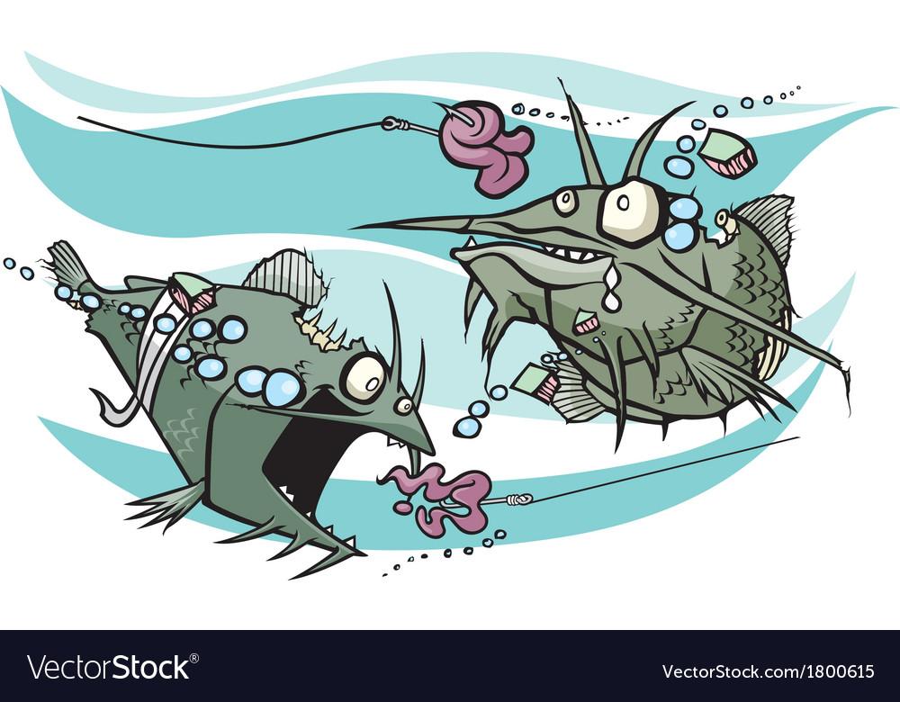 Zombie catfish vector image
