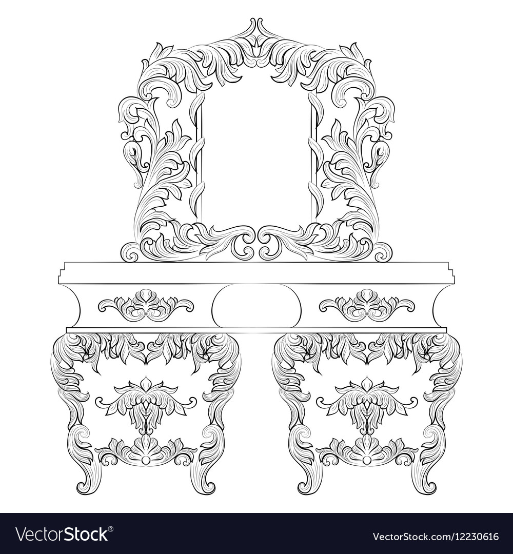 Baroque Dressing Table vector image