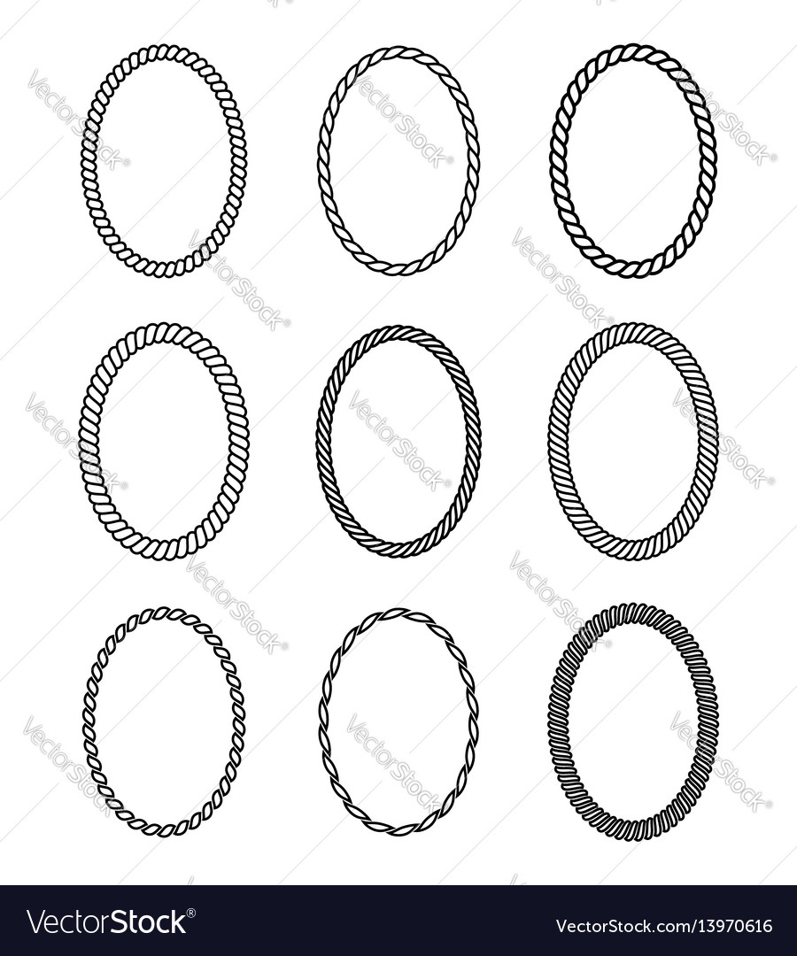 Rope set of oval frames collection of thick and vector image