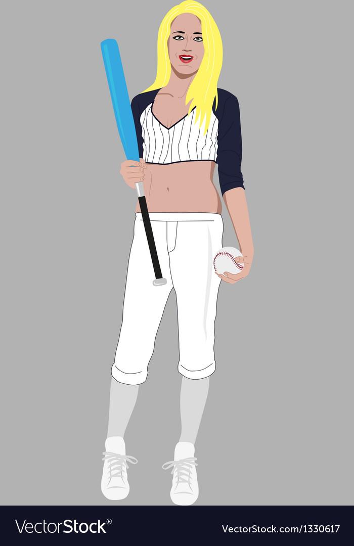 Blonde woman baseball player vector image