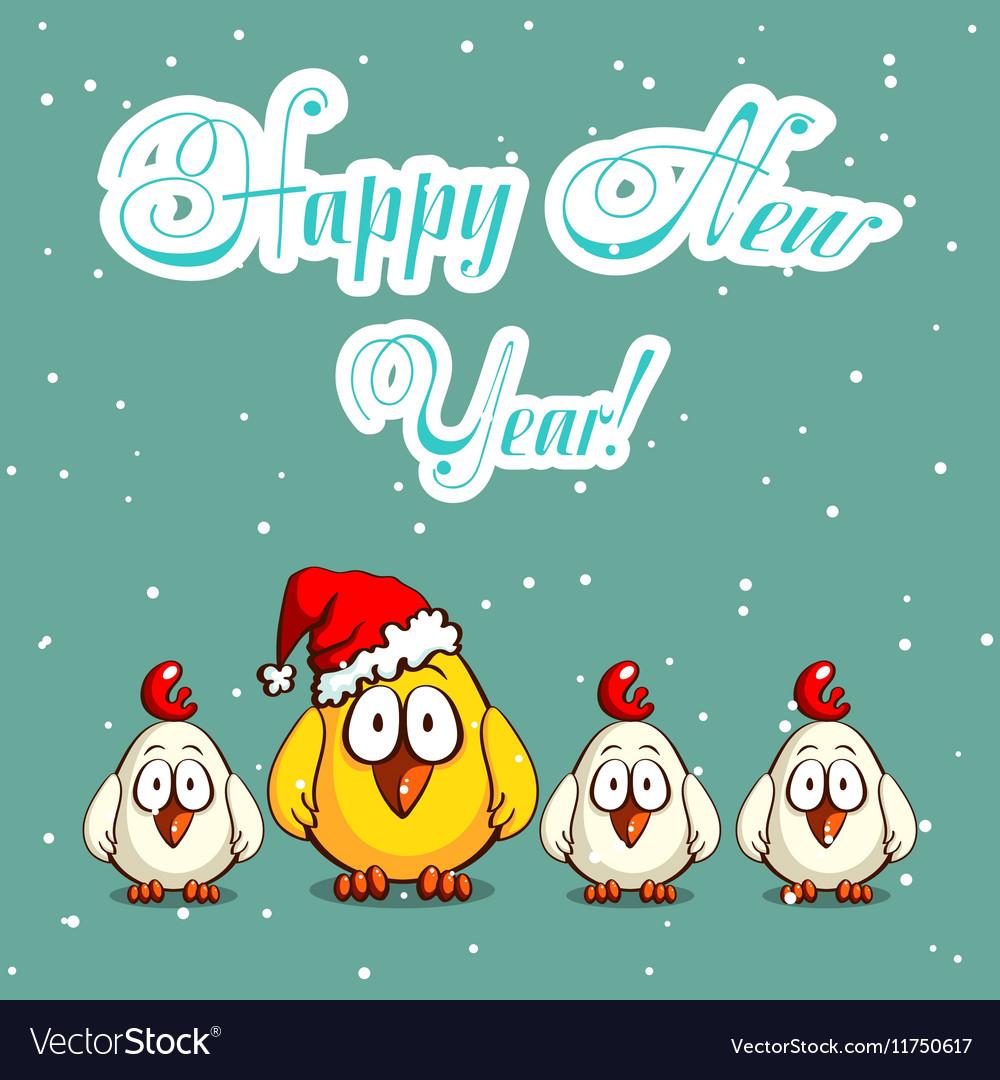 Christmas Greeting Card Chicks vector image
