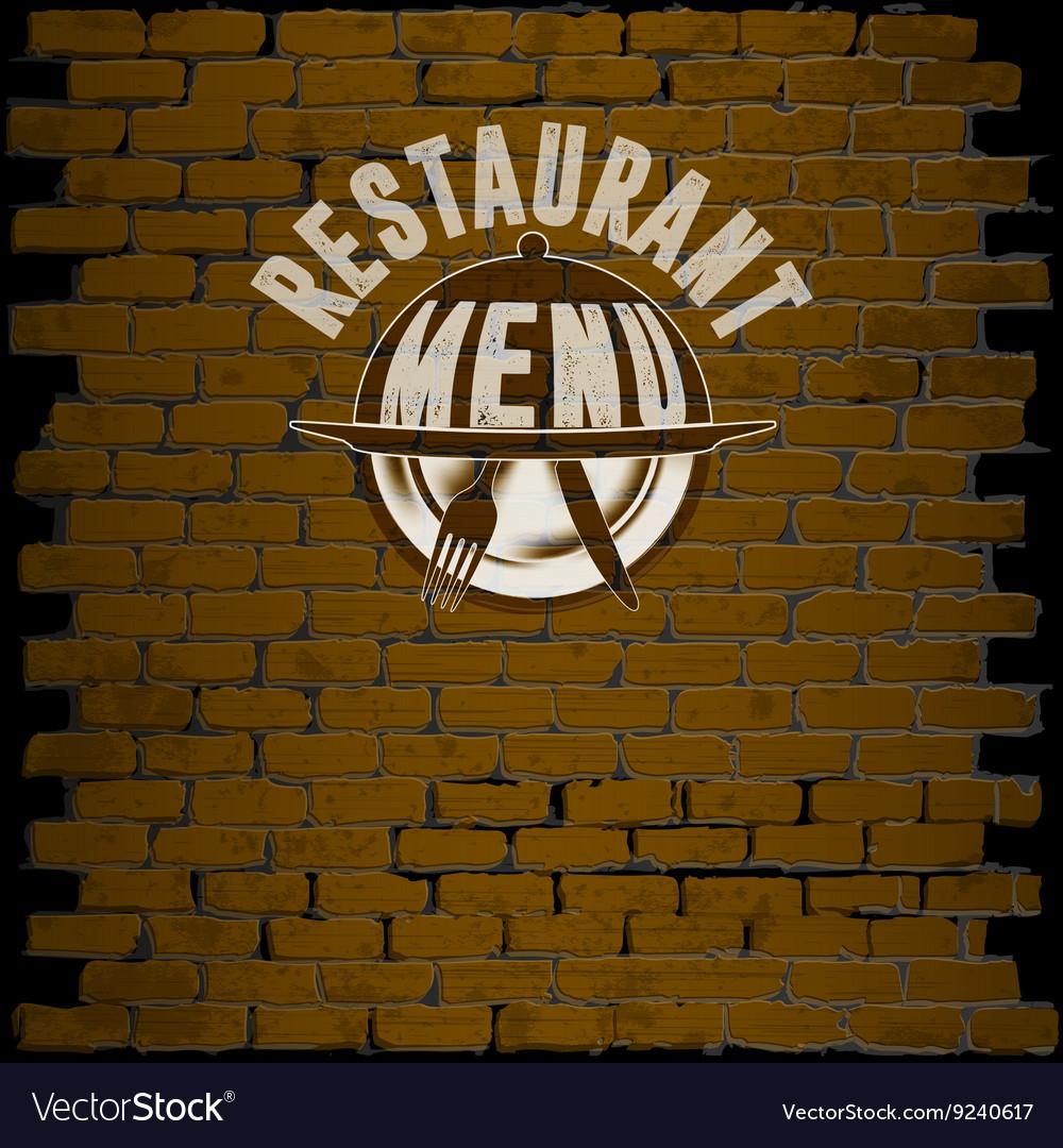 Restaurant menu template on a brick background vector image