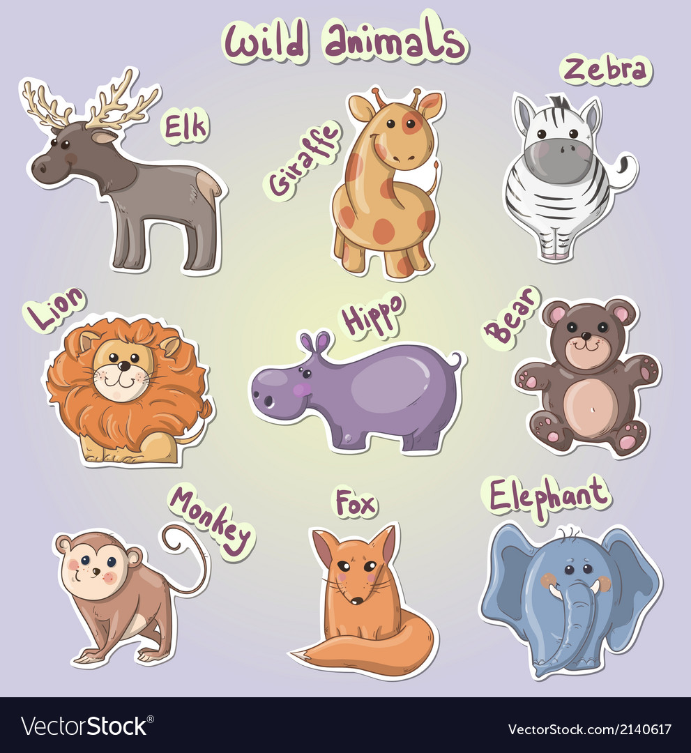 Set of cartoon wild animals vector image