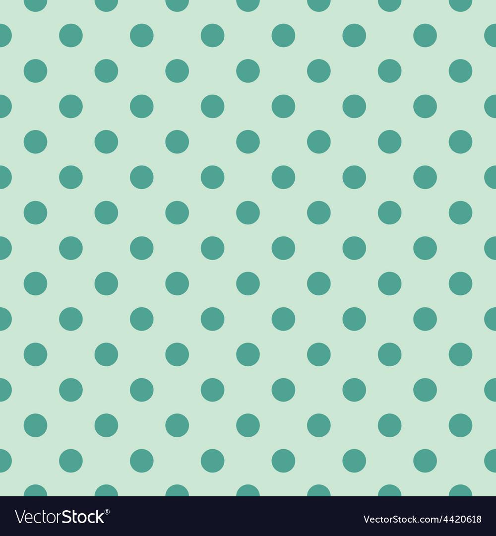 Tile pattern green polka dots on mint background vector image