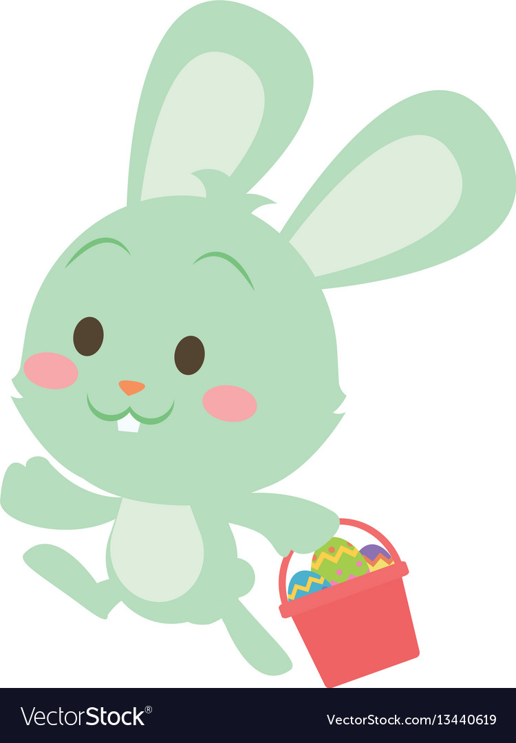 Easter green bunny character art vector image