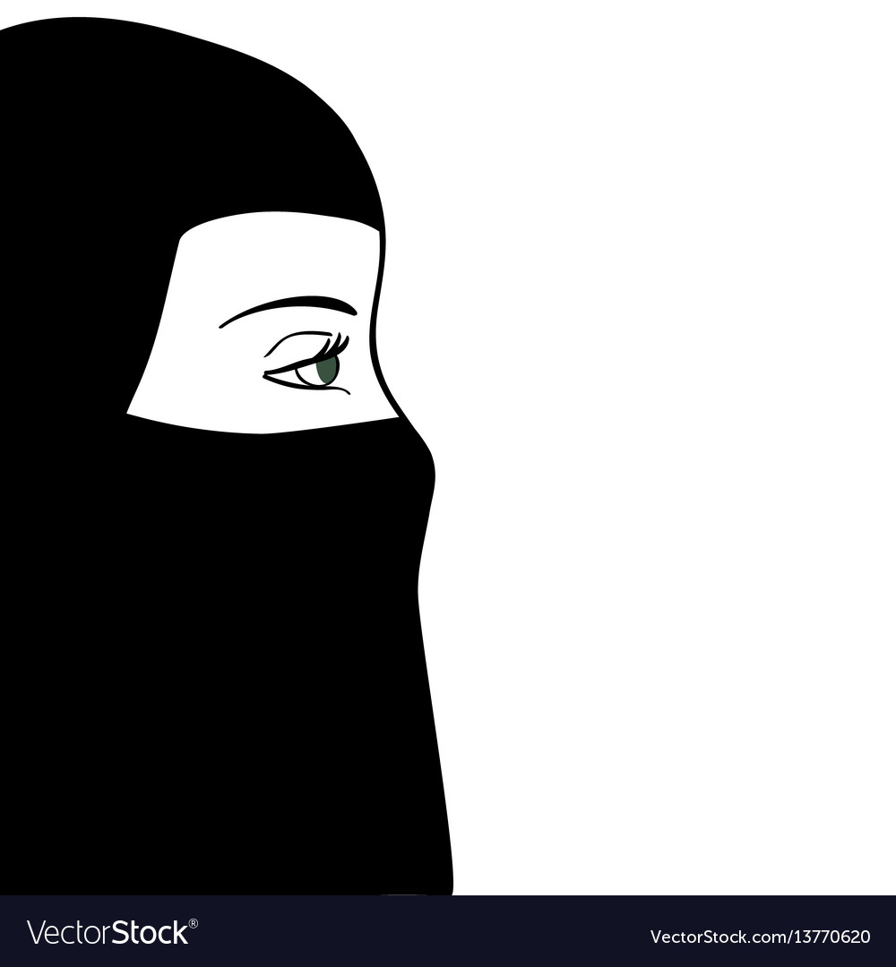 Beautiful muslim woman in black nijab vector image