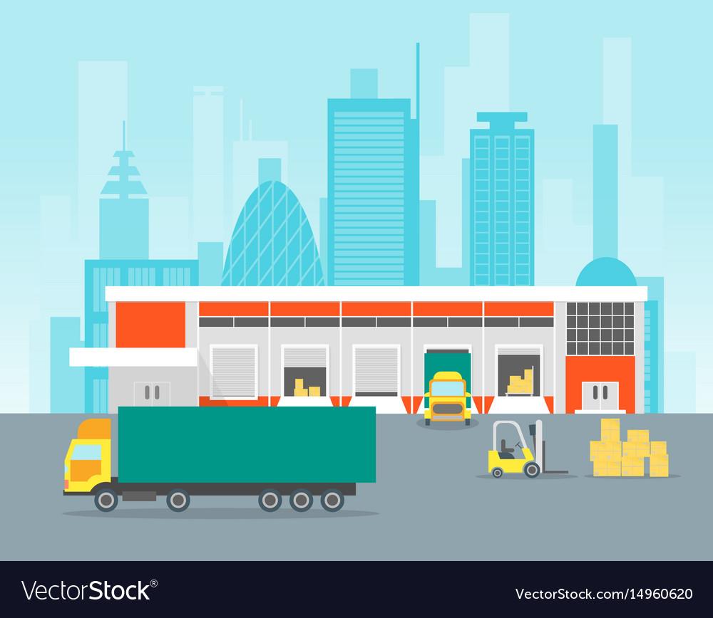 Cartoon warehouse distribution logistics vector image