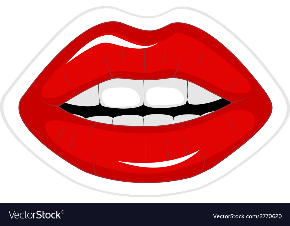 Red lips sticker vector image