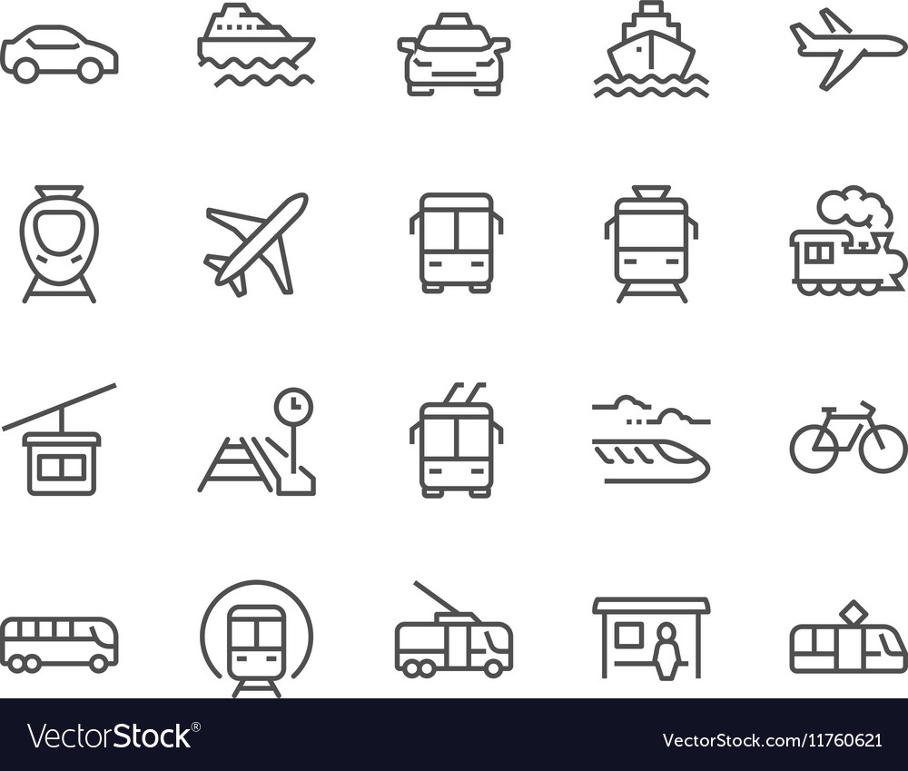 Line Public Transport Icons vector image
