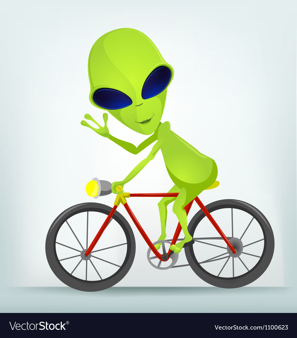 Cartoon Alien Cycling Vector Image