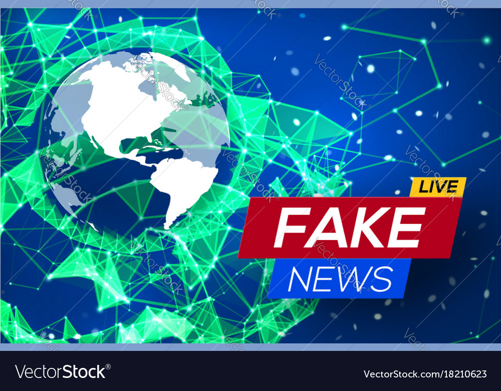 Fake news live with world map on blue background vector image gumiabroncs Image collections