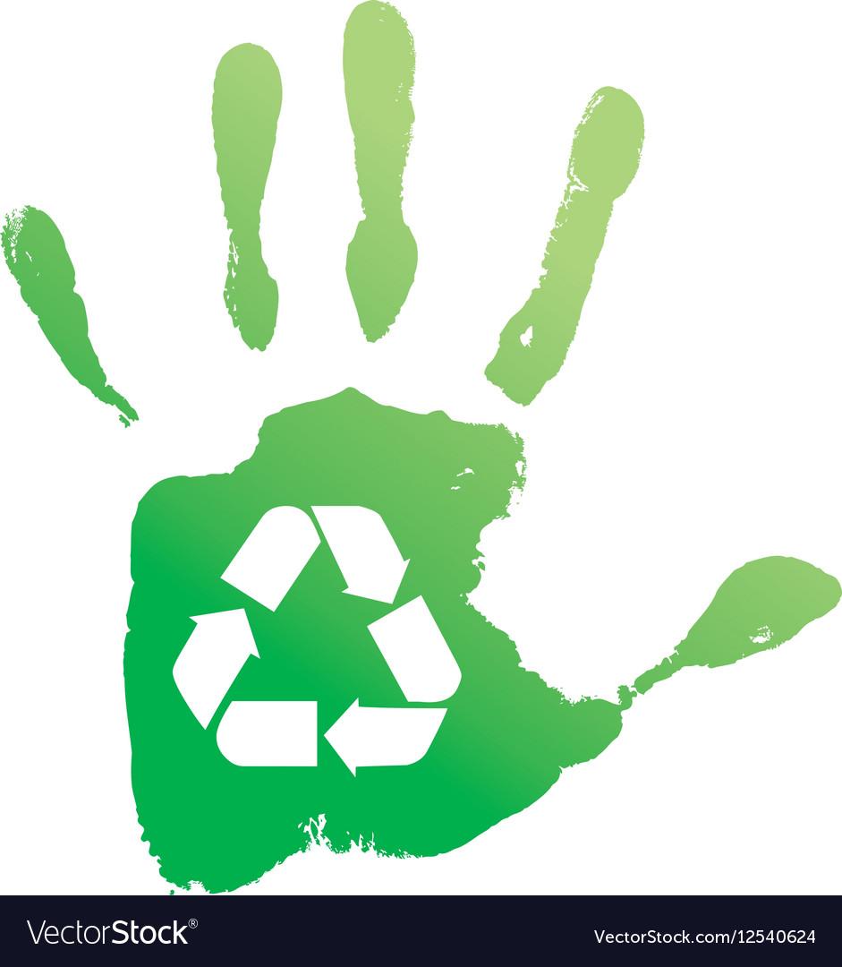 Handprint recycle vector image
