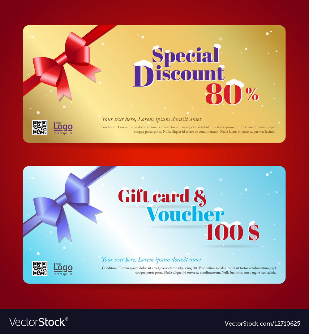 Elegant Discount Gift Card And Voucher Template Vector Image  Printable Vouchers Template