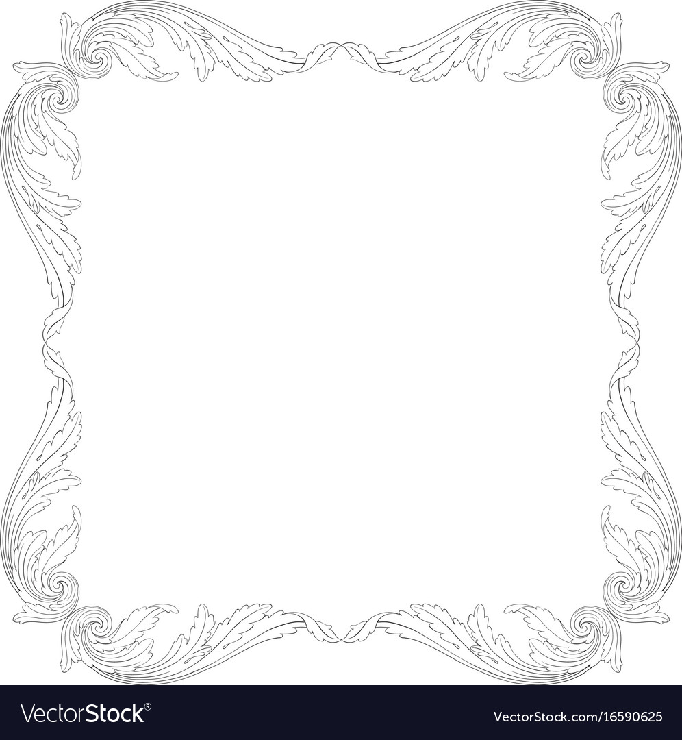 Ornament in baroque style for filigree vector image