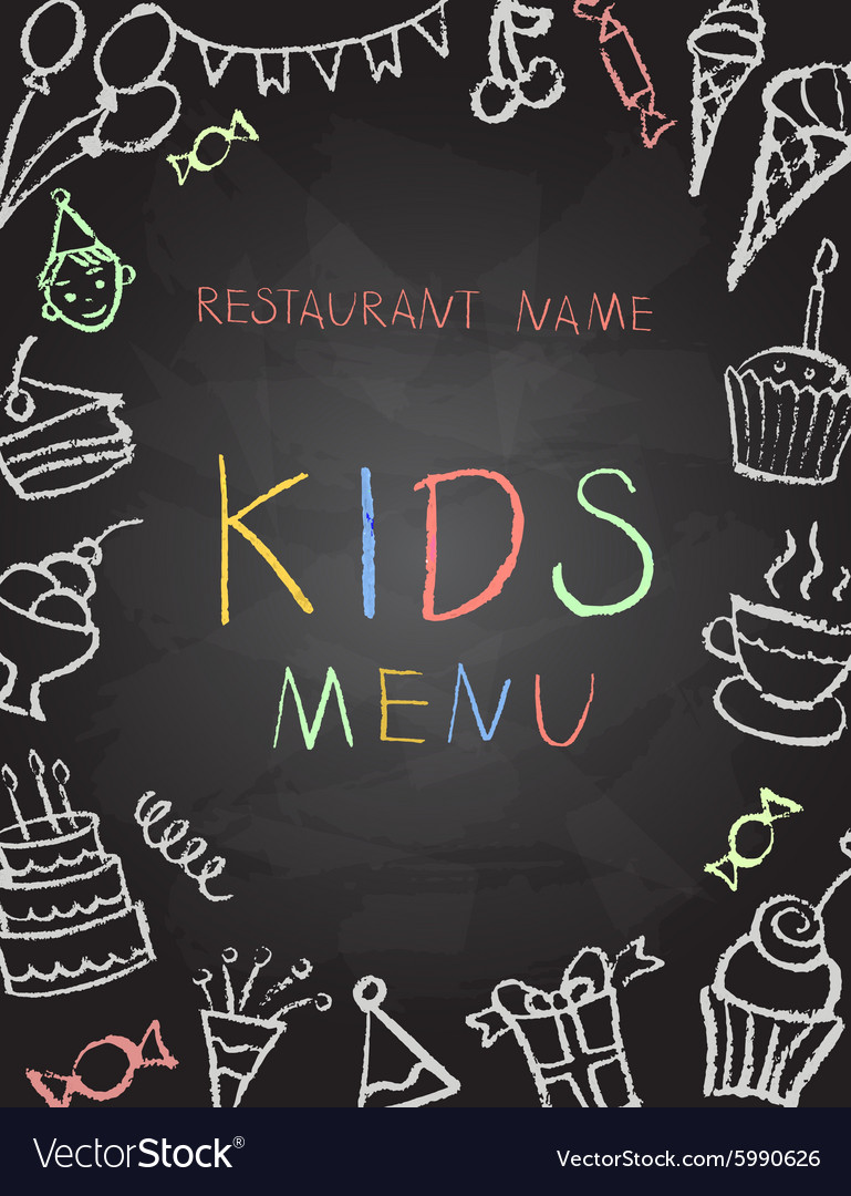 Desserts menu on chalk Board vector image