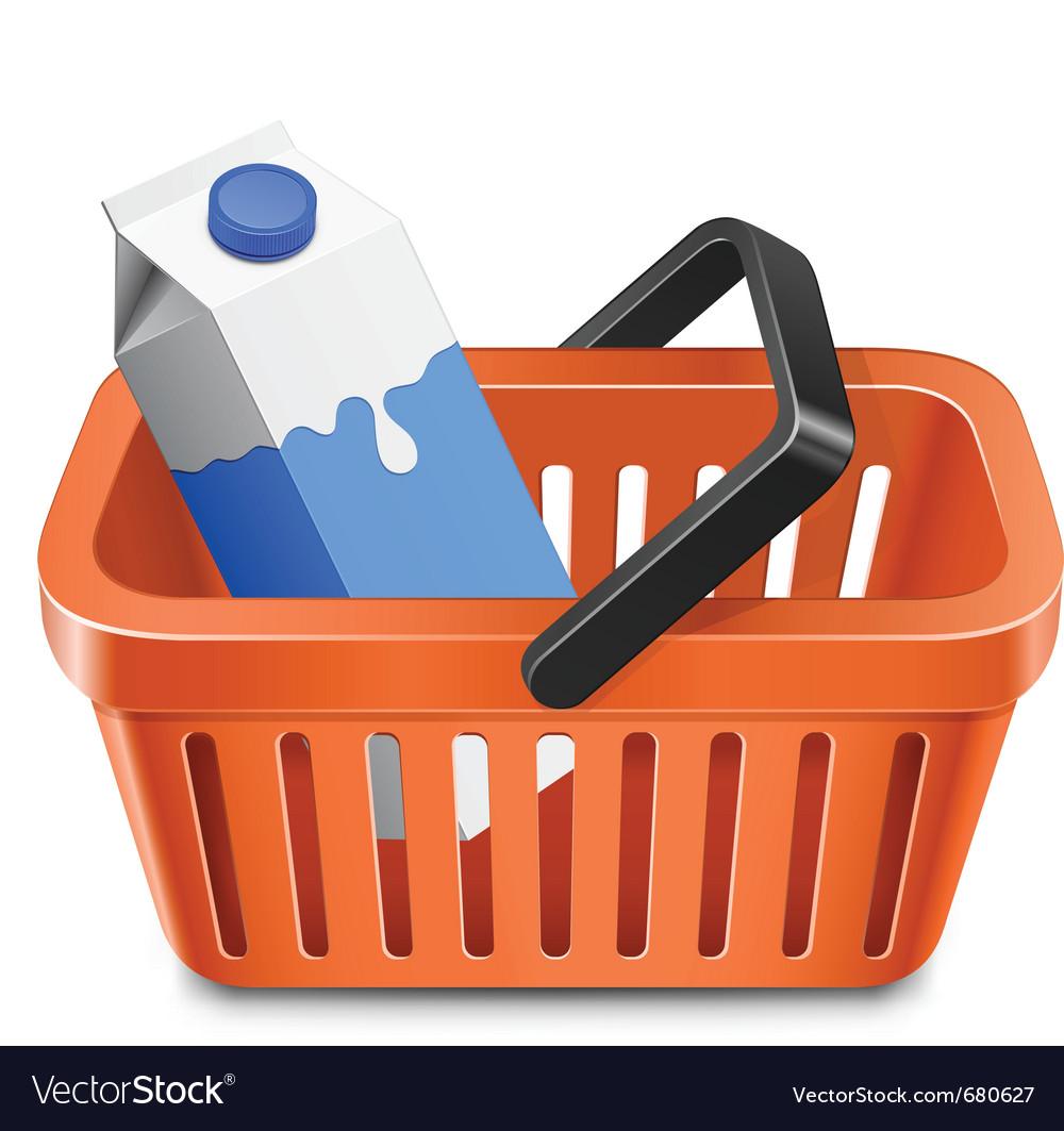 Shopping cart with a milk carton vector image