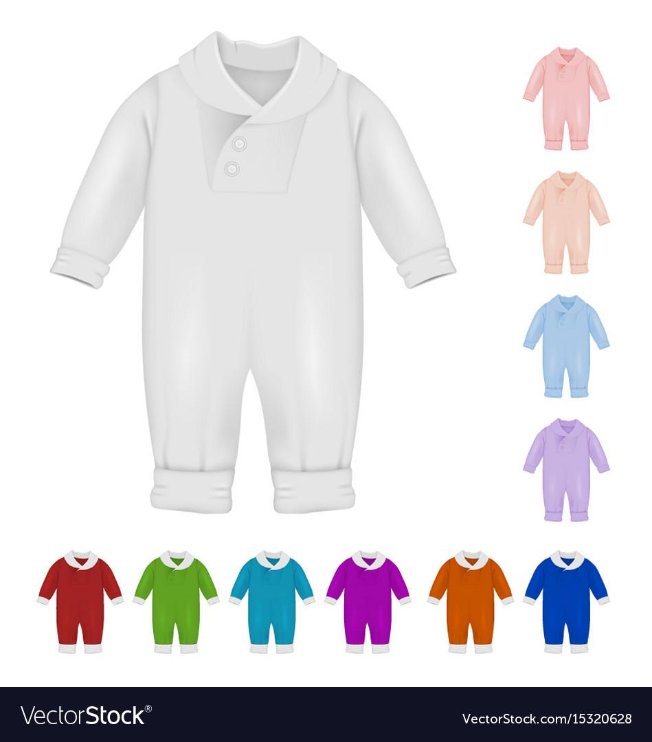 Baby bodysuit blank template vector image