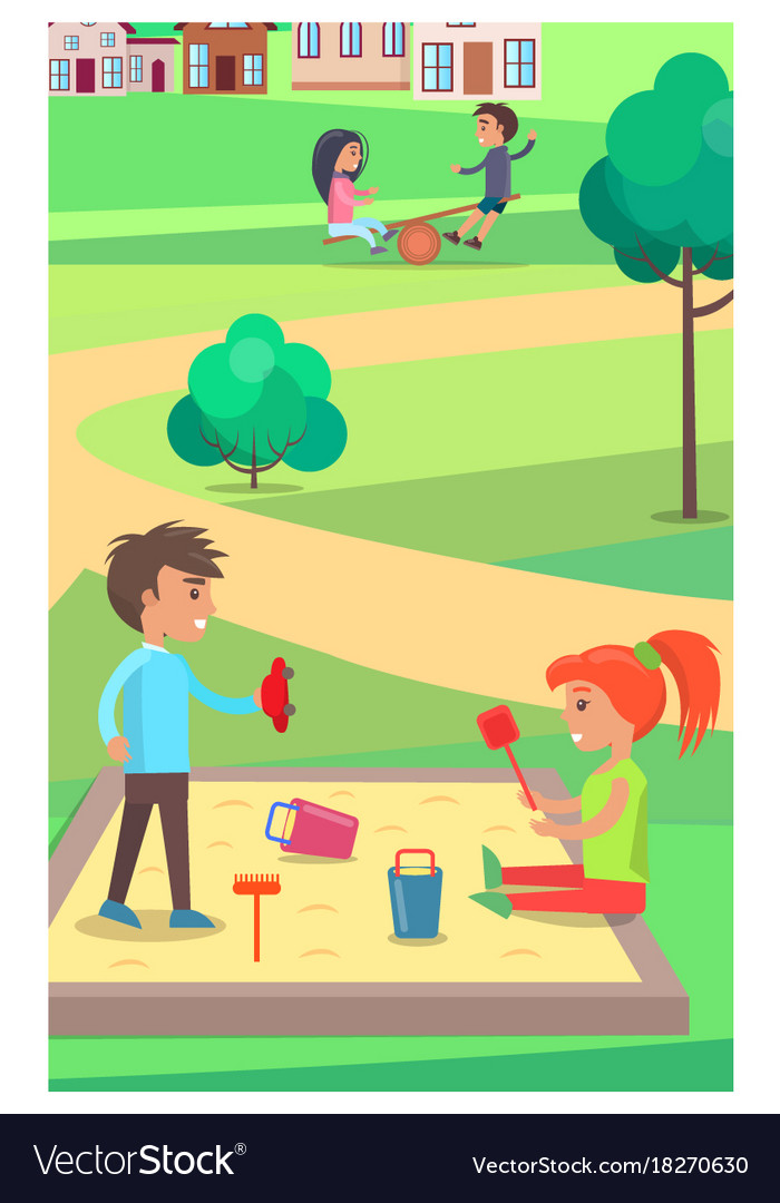 Children playing with toys in sandbox in park vector image