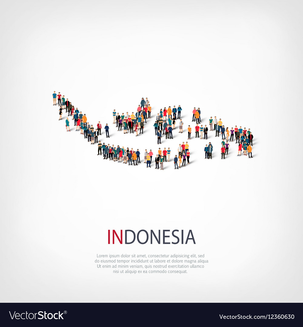 People map country Indonesia vector image