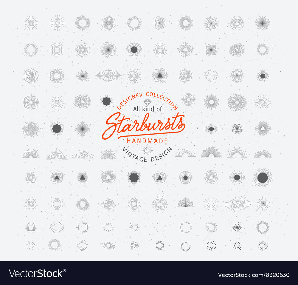 Retro sunburst bursting rays design elements vector image