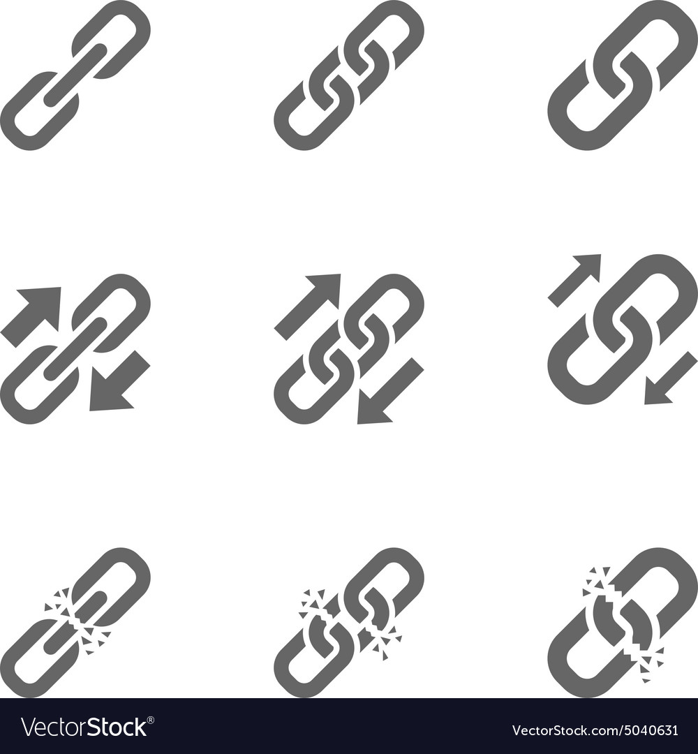 Three types of link icons vector image