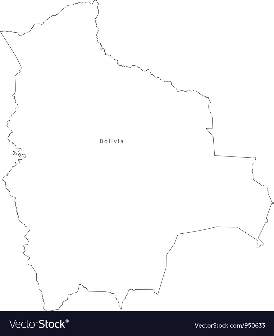 Black White Bolivia Outline Map vector image