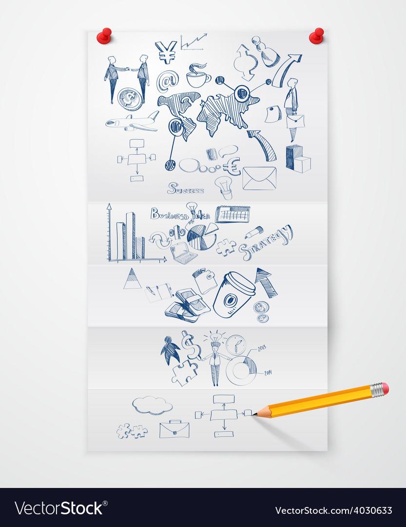Business doodle paper sheet vector image