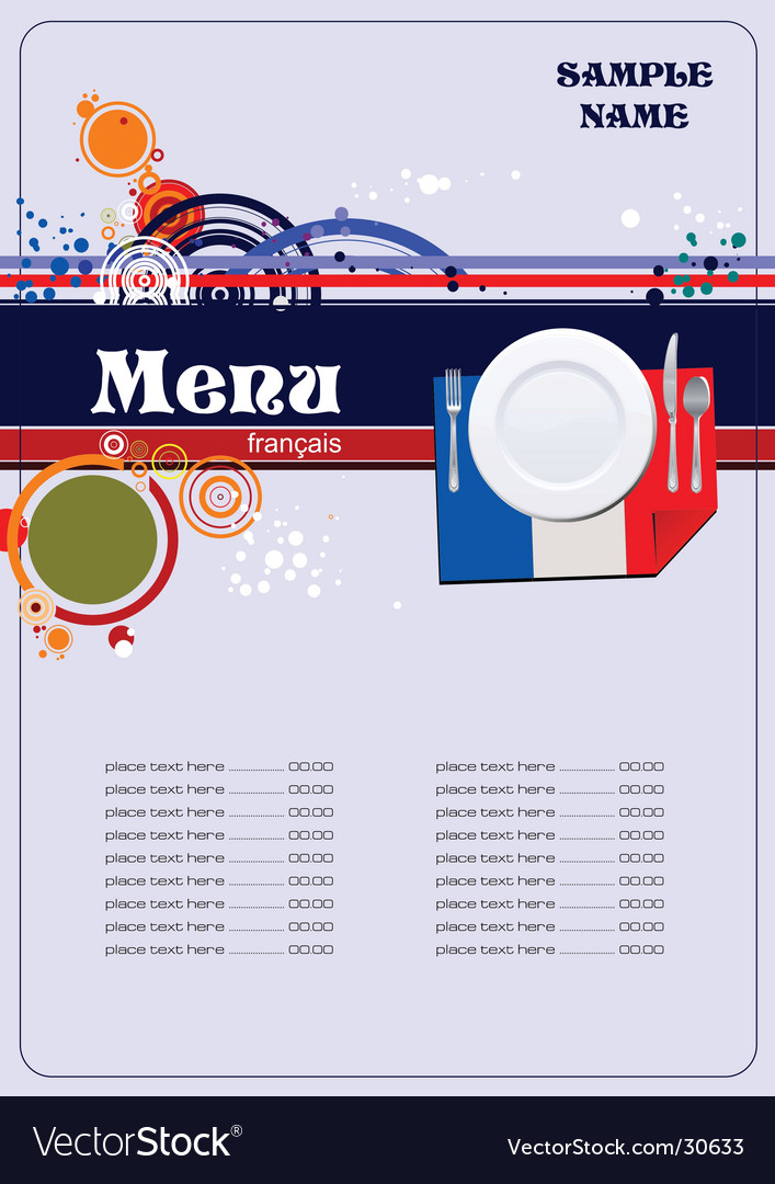 French Menu Royalty Free Vector Image  Vectorstock