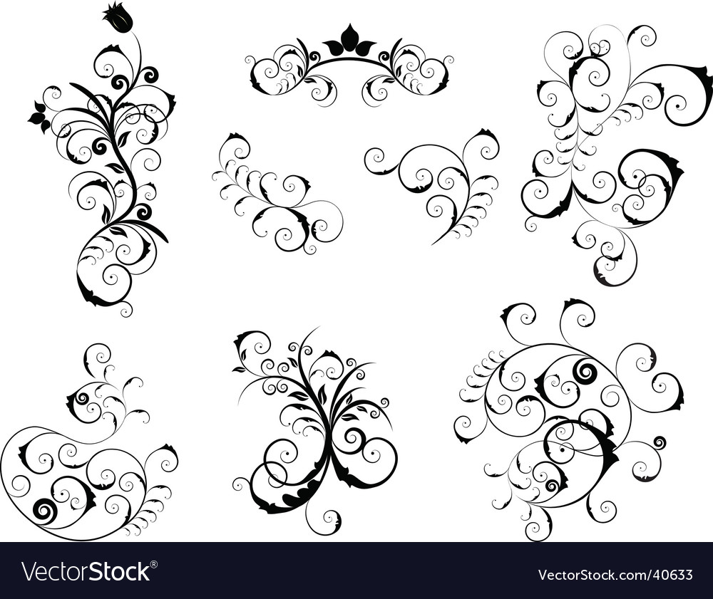 Set of Victorian design elements vector image