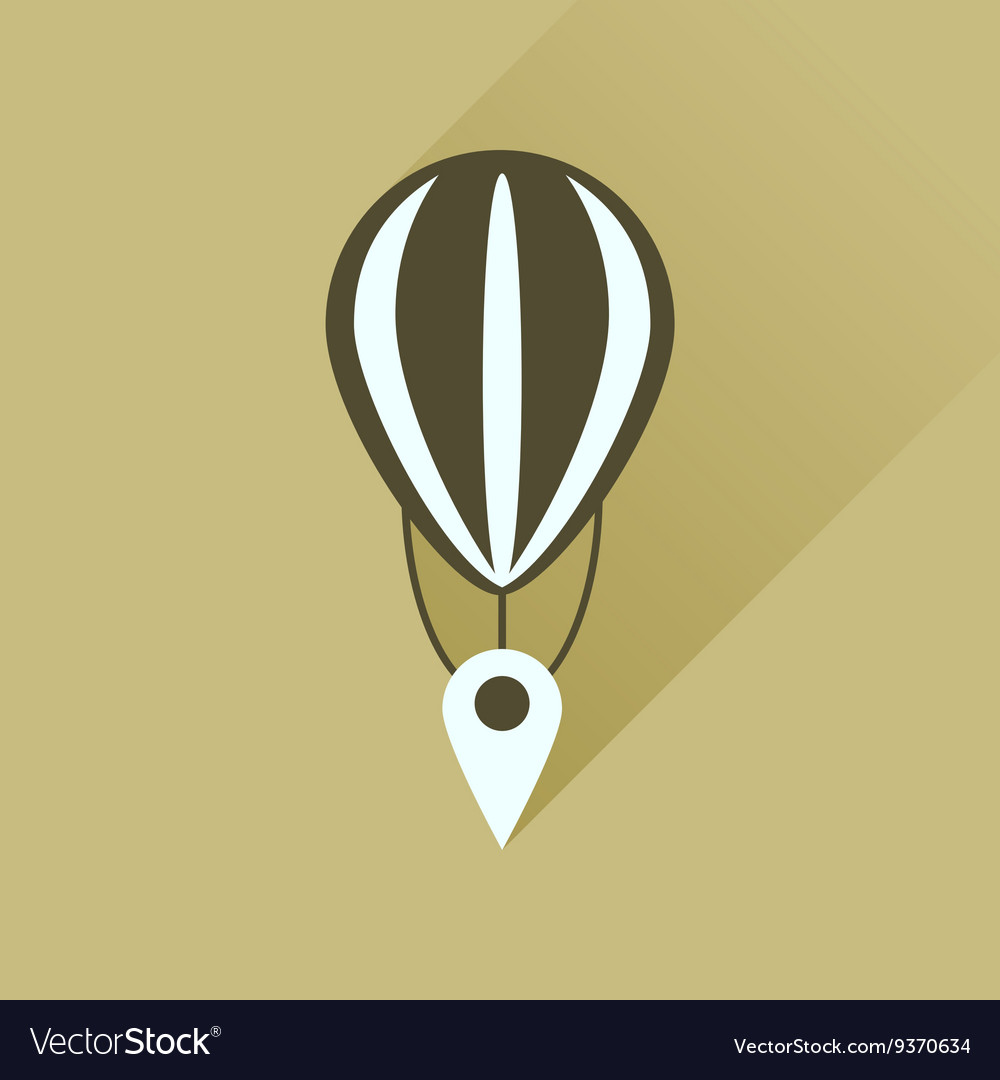 Flat icon with long shadow air balloon point
